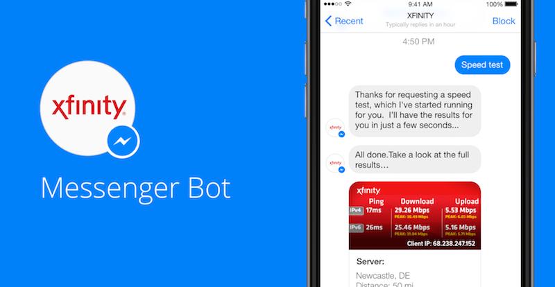 Comcast Facebook Messenger Customer Service Bot Prototype